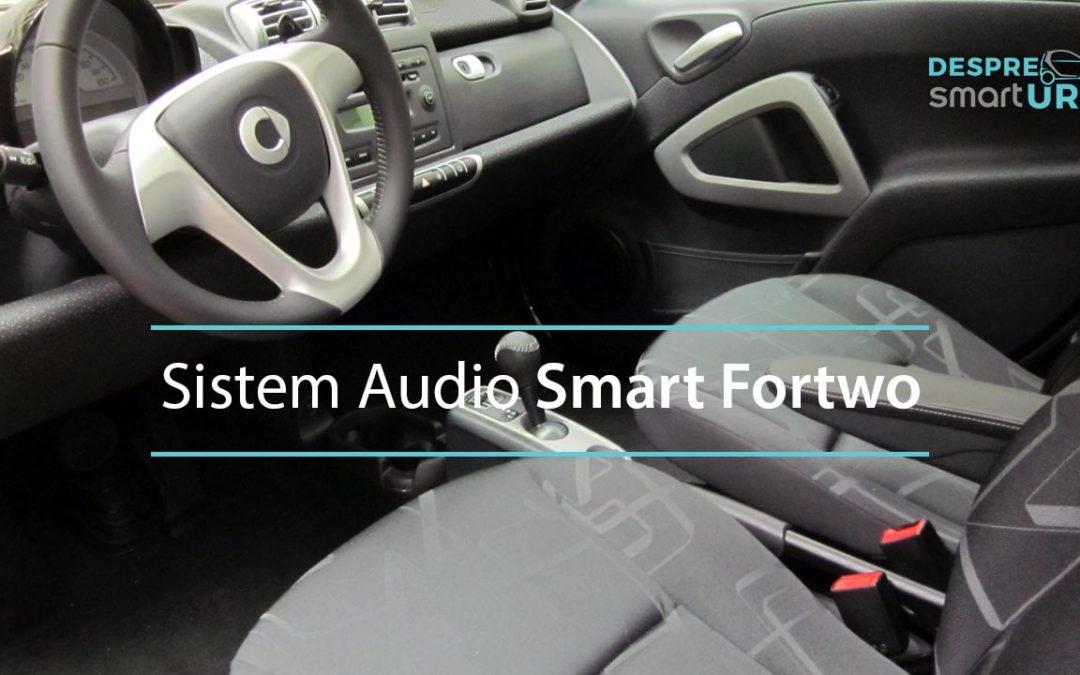 Imagine cu interiorul unui Smart ForTwo si sistemul audio